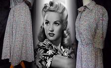 LIBERTY Vintage Dress 40s 50's Tea War Bride Swing WW2 Cotton Floral 18 46 US 14