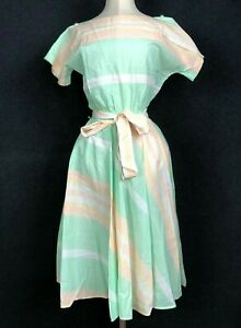 Vintage Dress 1980s Spring Summer Lightweight Sundress Pastel Stripe Boatneck