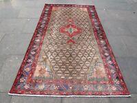 Vintage Hand Made Traditional Rug Oriental Wool Brown Red Large Rug 266x150cm