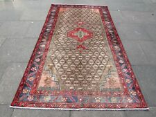 Vintage Hand Made Traditional Rug Oriental Wool Brown Red Large Rug 266x150cm