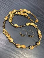 Vintage Pink Yellow Earthy Ceramic  Necklace Pierced Earring Set