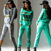 2Pcs Women PINK Tracksuit Hoodies Sweatshirt Pants SportWear Jogging Tracksuit