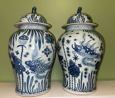 More details for very large 52cm chinese blue and white ginger jar vases with foo dog covers