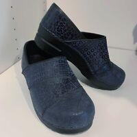Sanita sz 38 Clogs Blue Black Suede Leather Circles Waves Comfort Shoes