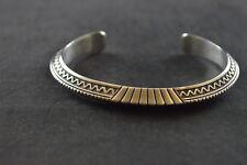 Roger Skeet Navajo Sterling Silver Cuff Bracelet with Inlay Design - 40.1g