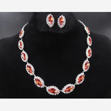 Red Crystal Diamante Wedding Bride Bridal Necklace Earrings Jewellery Set Party
