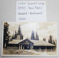 Cedar Breaks Lodge Utah Vintage Real Photo Postcard Unused Union Pacific RR