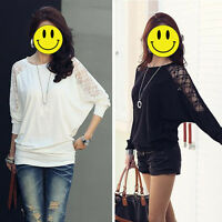 1PC Womens Long Sleeve Casual Dolman Lace Loose T-Shirt Batwing Tops Hoc