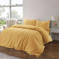 Duvet Cover Pillowcase Bedding Set Yellow Cotton Linen Single Double King Size