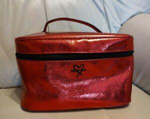 NEW VICTORIA'S SECRET METALLIC RED BLACK VANITY CASE BAG TRAVEL WASH MAKE-UP