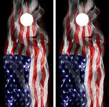 USA Flag Cornhole Wrap Game Art Gameboard Vinyl Skin Set Sticker PO12