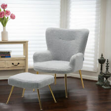 Teddy Fluffy Occasional Armchair with Footstool Suite Lounge Chair Accent Sofa