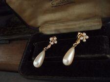 Vintage Pearl Drop Seed Pearl & Crystal Pierced Earrings. Gold Plated