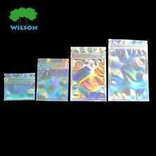 Holographic Laser Pouches Zipper Glossy Reusable Food Save Cosmetic Bag 100 PCS
