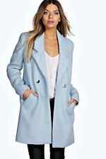 Women's No Pattern Knee Length Double Breasted Casual Coats & Jackets