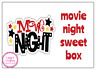 4 x  Personalised Movie Night Large Stickers Birthday Party Bag Sweet Cone Gift