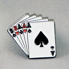 FULL HOUSE - LAPEL PIN BADGE - ACES EIGHTS DEAD MANS HAND GAMBLING POKER (DB-12)
