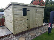 GARDEN SHED HEAVY DUTY TANALISED 10X8 PENT 13MM T&G. 3X2.