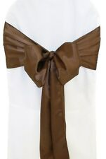 "100 Chocolate Brown Satin Chair Cover Sash Bows 6"" x 108"" Banquet Made in USA"