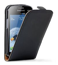 Ultra Slim BLACK Leather Vertical case cover for Samsung Galaxy S Duos GT-S7562