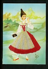 Embroidered clothing postcard Artist Gumier Italy woman costumes Venezia