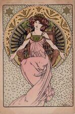 magnifique  cartes ILLUSTRATION ART NOUVEAU ,illustrateur mucha