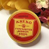 c1950's VTG Typewriter Ribbon Tin KREKO-Kress Stores Office Supplies-w/ RIBBON!
