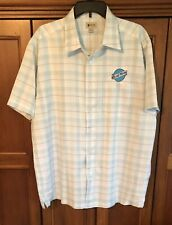 Haggar Men's Easy Care Short Sleeve Button Front BLUE MOON BEER LOGO sz Large