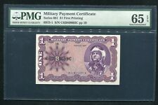 SERIES 681 $1 ONE DOLLAR MPC MILITARY PAYMENT CERTIFICATE PMG GEM UNC-65EPQ