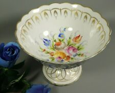 Antique French LIMOGES Porcelain Footed Bowl Compote Centerpiece Hand Painted