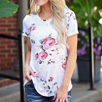 Vintage Women Short Sleeve Flower Printed Boho Blouse Lady Casual Tops T Shirt