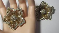 intage LARGE RUNWAY GLAM THELMA DEUTSCH Rhinestone Flower Earrings