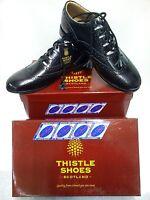 New Thistle Ghillie Brogue Kilt Shoes Black Leather Sole