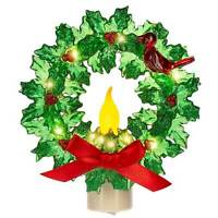 "5"" Midwest CBK Candle Holly Wreath Red Bird Christmas Plug-in Nightlight Decor"