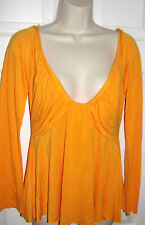 VENUS SIZE SMALL ORANGE LONG SLEEVE LIGHT WEIGHT BLOUSE V NECK SEXY RUSCHED EUC