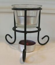 """Texas A&M Candle Holder with 2 Maroon Tea Light Candles 4"""" Tall Metal Glass"""