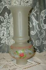 VINTAGE CHIC SHABBY HAND PAINTED HURRICANE LAMP SHADE SATIN GLASS COTTAGE LOVELY