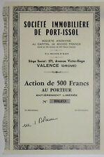 Société immobilière de Port-Issol action de 500 Frs (Valence)