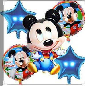 Disney Mickey Mouse baby 5pcs Birthday Balloons Baby Shower  Blue