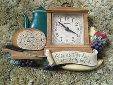 PLASTIC QUARTZ CLOCK 1985 BURWOOD  PRODUCTS NEW HAVEN GIVE US THIS DAY OUR BREAD