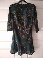 BANANA REPUBLIC GREEN FLORAL 3/4 SLEEVE WOMENS DRESS~SIZE 0~NWOT