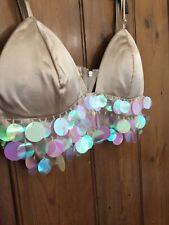 Oyster Beige Silky Padded Iridescent Sequinned Bralette 12
