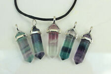 FLUORITE CHAKRA Hexagon Healing REIKI Crystal Point Gemstone PENDANT NECKLACE