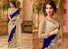 Latest Wedding sari designer Blue Embroidered Ethnic Party wear saree