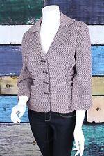 Kay Unger New York 12 Pink Purple Gray Tweed Rhinestone Bow Blazer Jacket Work