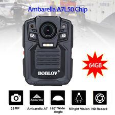 Ambarella A7L50 IP67 HD Police Body Worn Camera IR Night Vision Cycle Record
