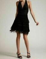 BCBG Maxazria black tiered ruffle mini halter dress SIZE 8 feather accent (Z)