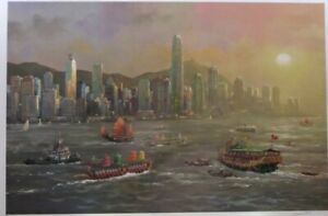 Hong Kong Evening. Seriolithograph numbered and signed by Alexander Chen.