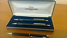 Vintage FUTURA Fisher SPACE ball point PEN Mechanical PENCIL set Black Gold READ