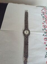 Vintage 925 Sterling Silver Marcasite Quarts Ladies Watch